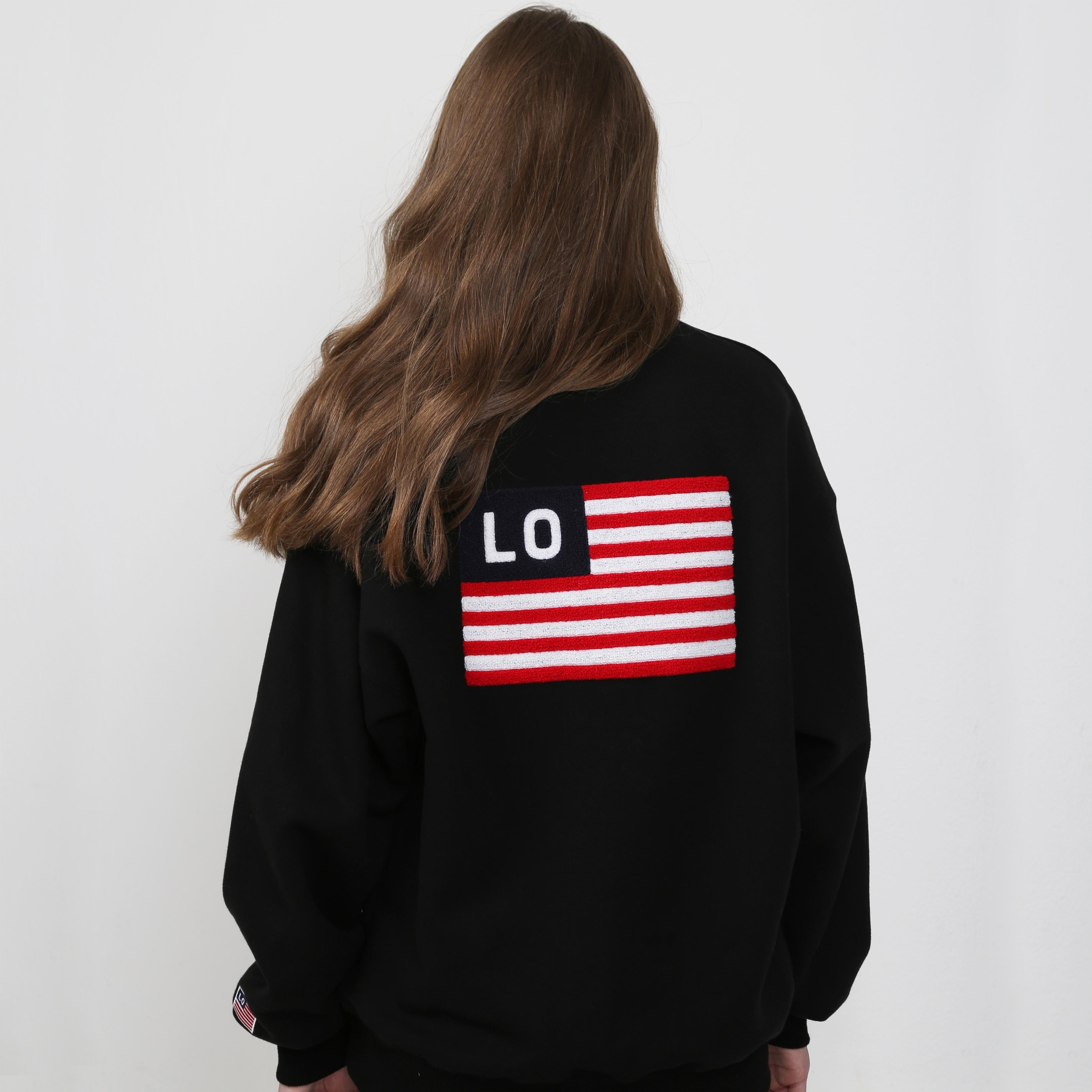 America Flag Big Logo Sweatshirt Black
