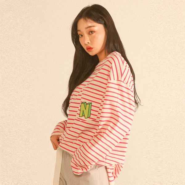 [UNSEX] 싱 포켓 스트라이프 오버핏 슬릿 롱 티셔츠 _ 핑크