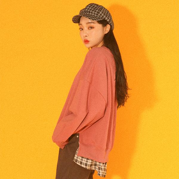 [UNSEX] 크리에이티브 오버핏 셔츠 맨투맨 _ 핑크