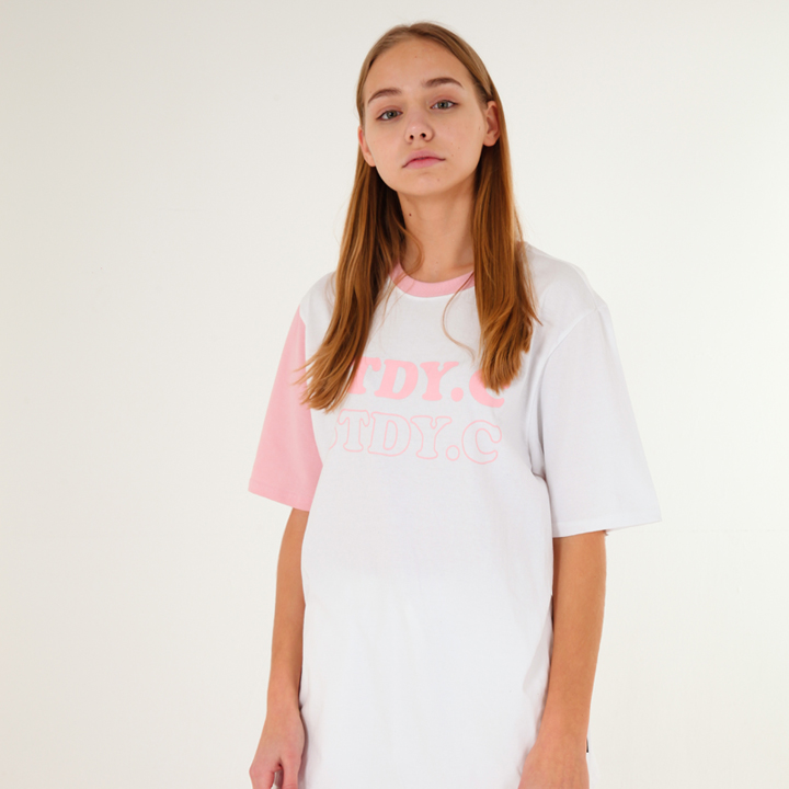 [UNISEX]Color block short sleeve(pink)