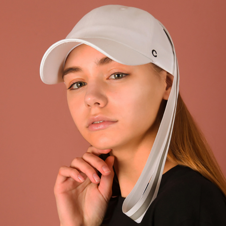 [UNISEX]C logo scotch taping ballcap(white)