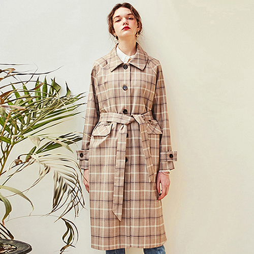 ROMANTIC CHECK TRENCH COAT_CHECK BEIGE