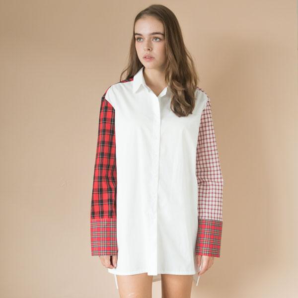 멀티체크 블록 롱 셔츠