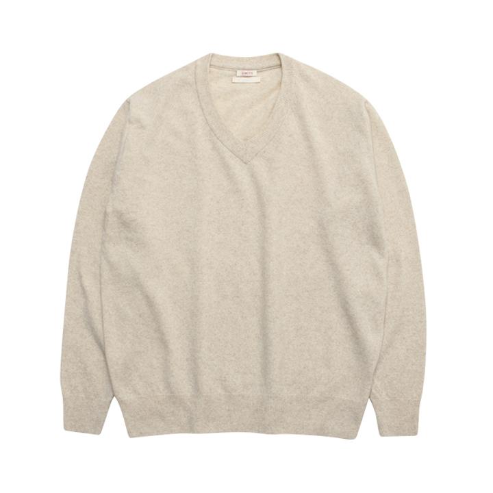 (Unisex) Merino Wool Basic V Neck_Oatmeal