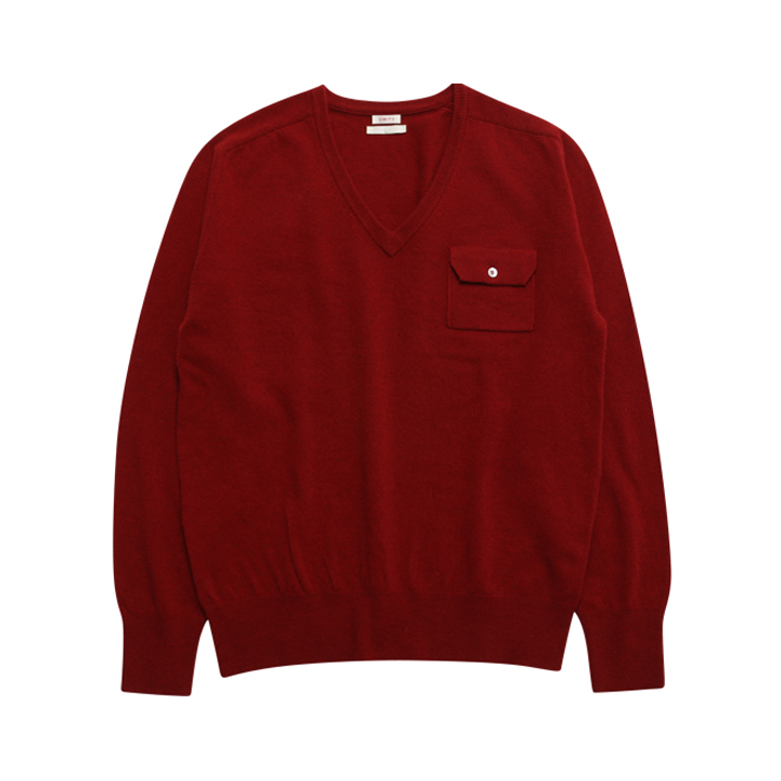 (Unisex) Cashmere Saddle Pocket V Neck_Pompeian Red