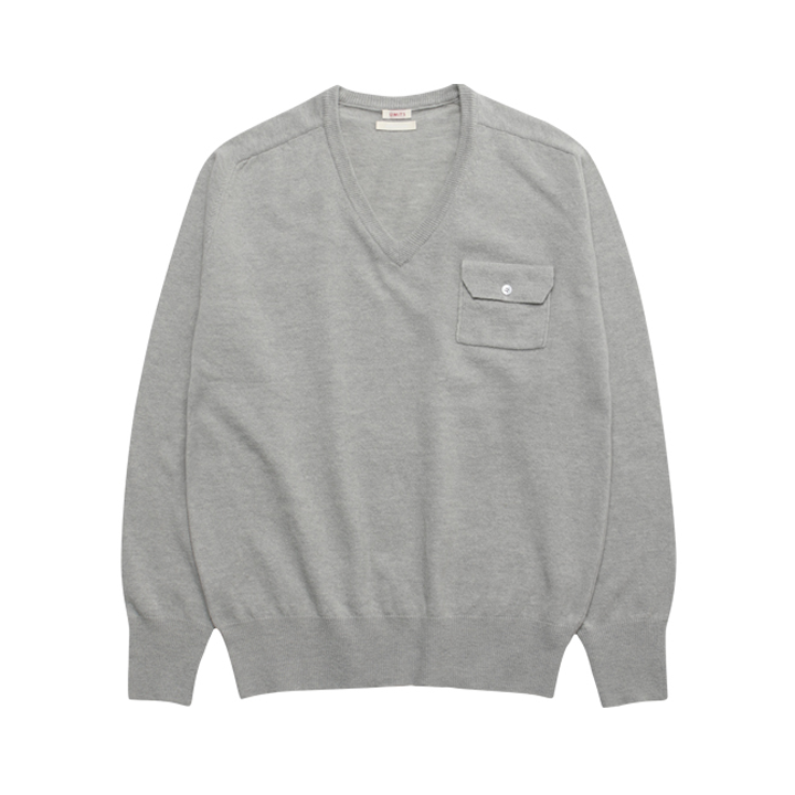 (Unisex) Cashmere Saddle Pocket V Neck_Cloud