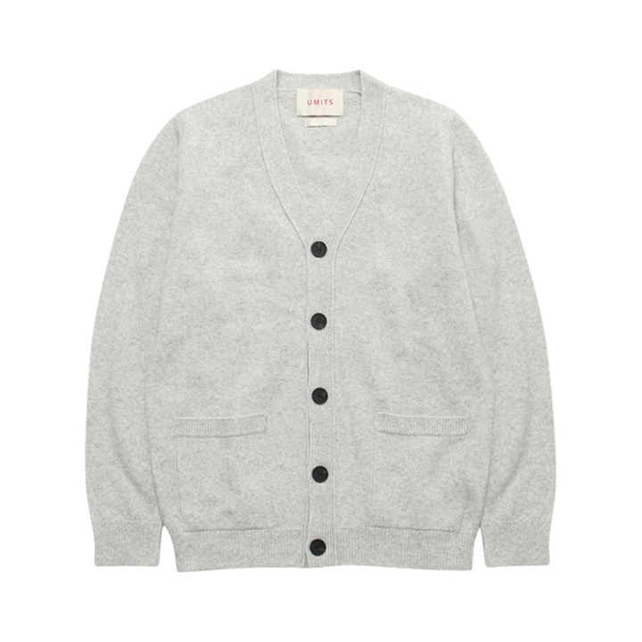(Unisex) Cashmere Basic V Neck Cardigan_Light Grey