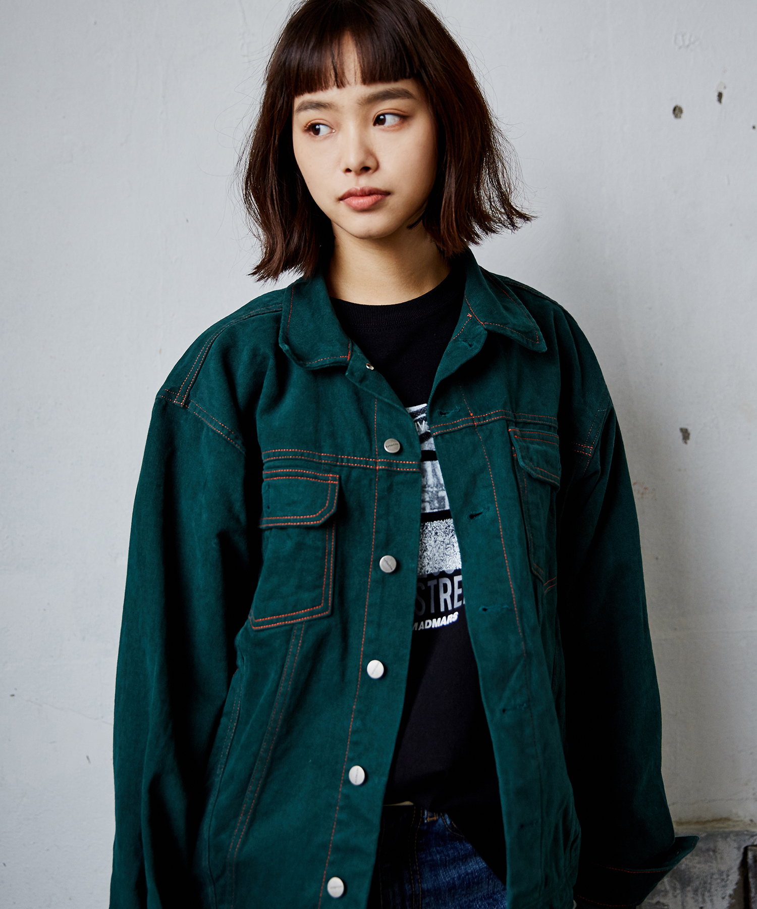 STITCH POINT JACKET_GREEN