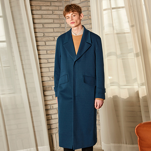TWILL OVERSIZE LONG COAT_BLUE