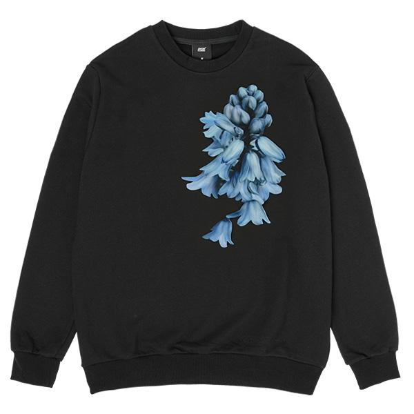 아키클래식 플라워 맨투맨 티셔츠 벨 블랙