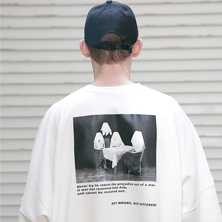 매스노운 프레쥬디스 오버핏 반팔 티셔츠 MSETS001-WT