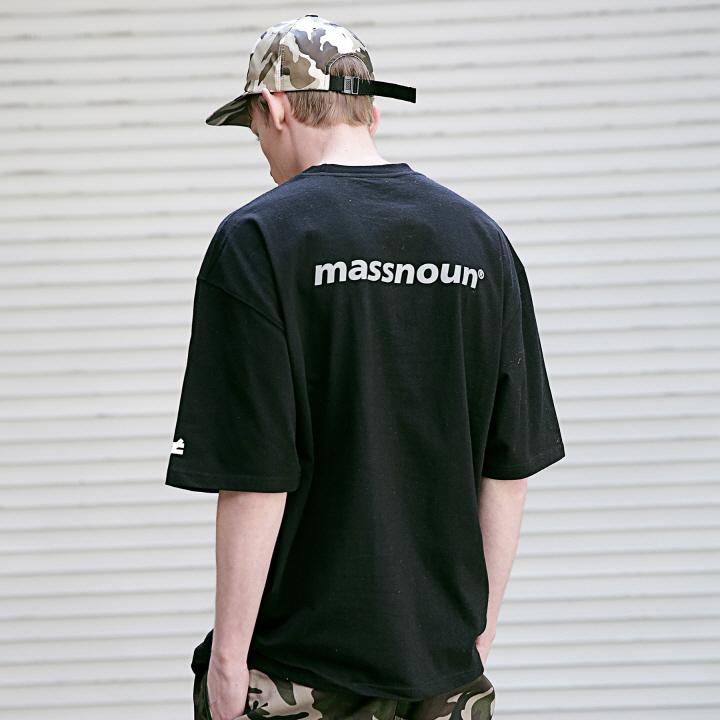 매스노운 디퍼런트 리플렉티브 오버핏 반팔 티셔츠 MSETS002-BK