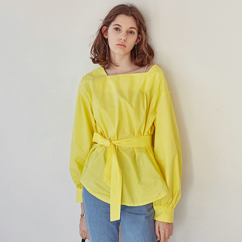 SQUARE NECK BLOUSE_YELLOW
