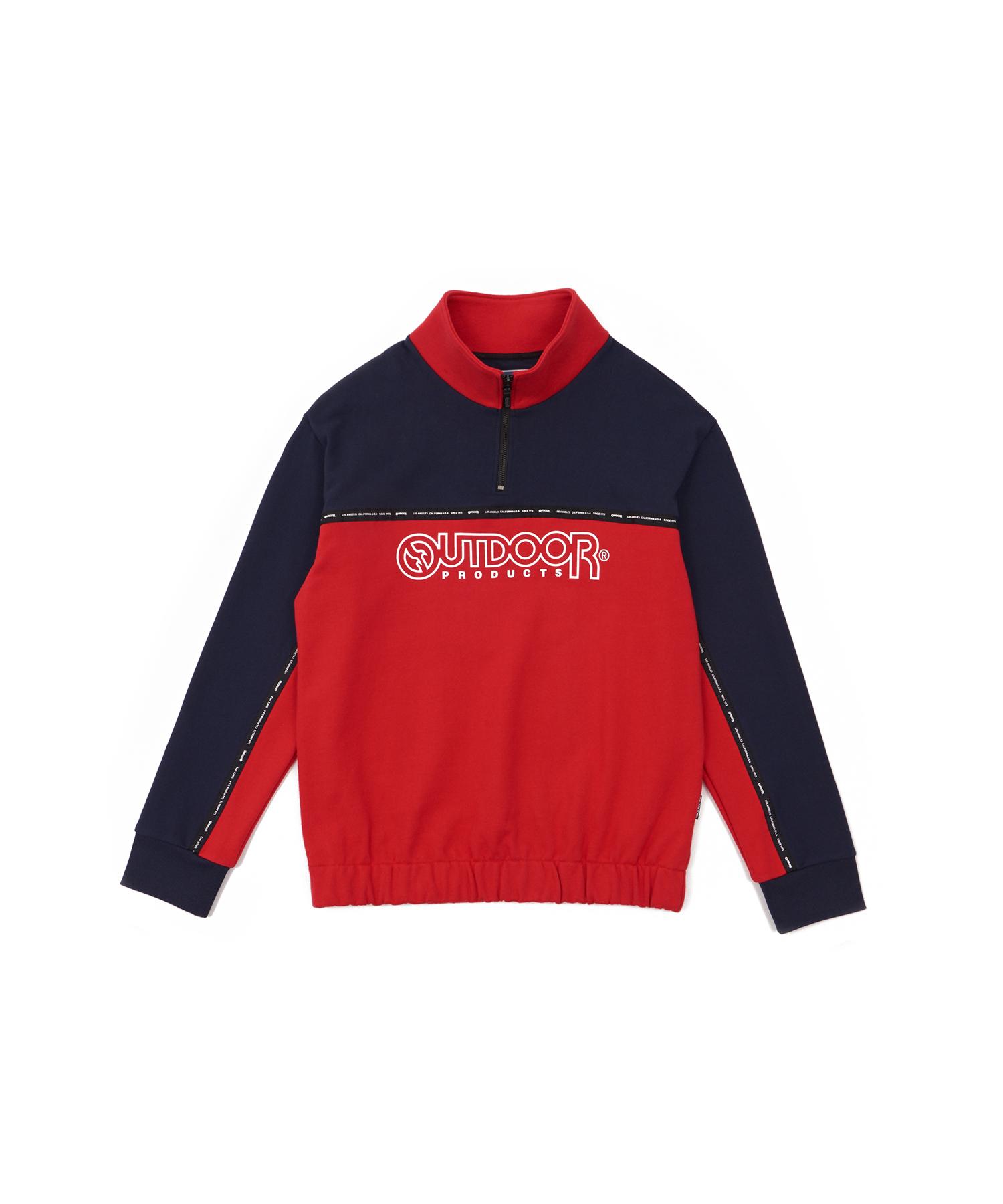 아웃도어프로덕트 컬러블럭 하프집업 맨투맨 티셔츠