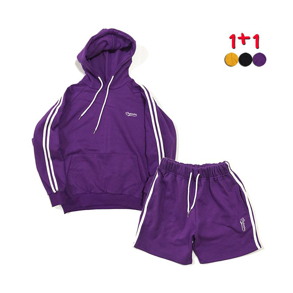 [1+1] Two Stripe Hoodie 2 +Two Stripe Track Shorts(3color)(unisex)