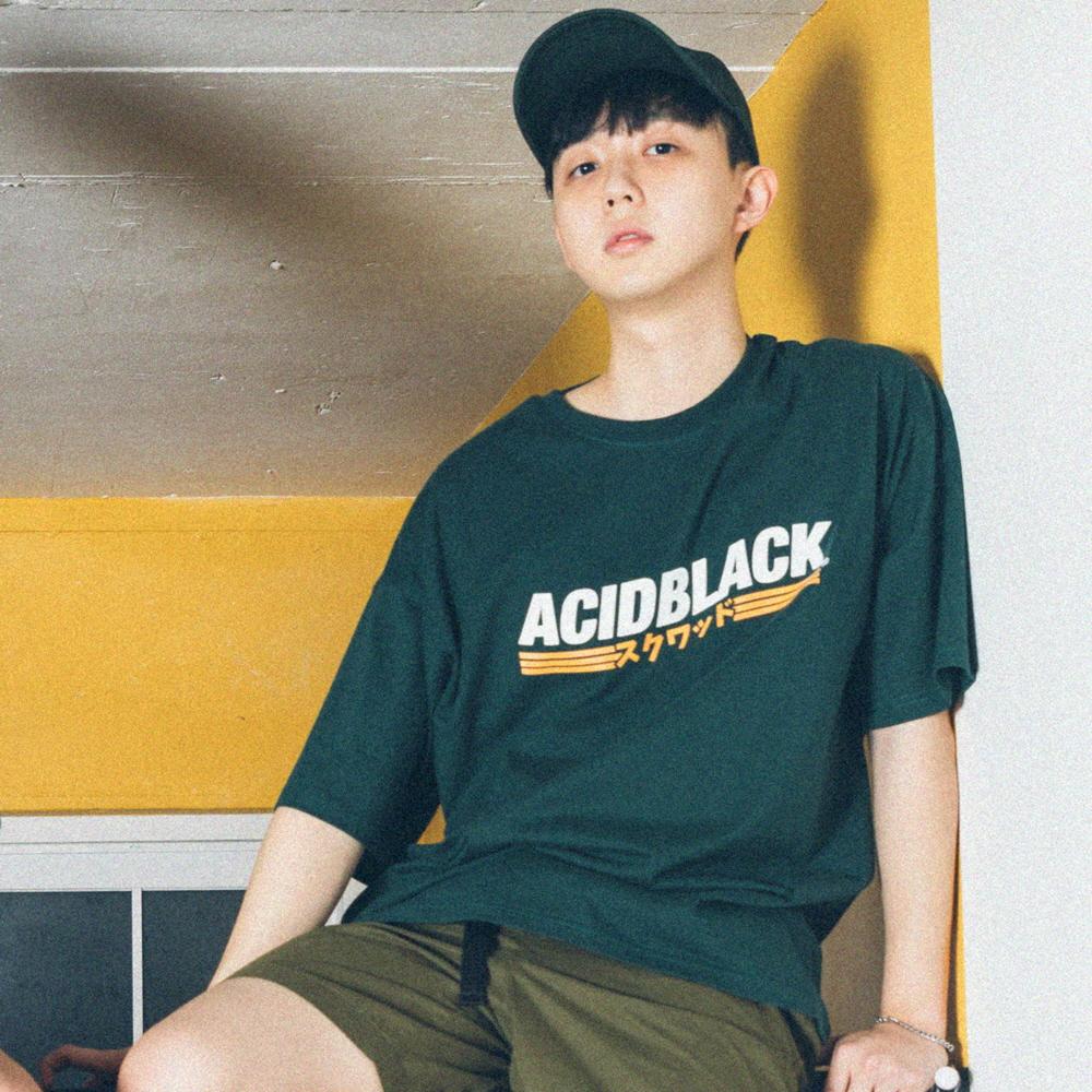 [에시드블랙] ACIDBLACK - WAVE LOGO TEE (GREEN) 반팔 반팔티 티셔츠