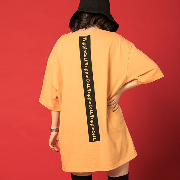 Signature Tee (orange) 세로 프린팅 반팔티셔츠 오렌지