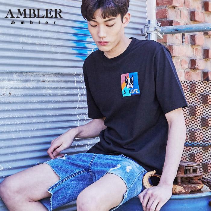 [엠블러]AMBLER 신상 자수 반팔 티셔츠 AS404-블랙