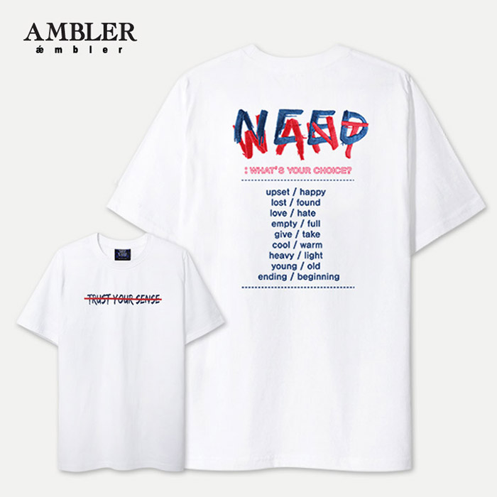 [엠블러]AMBLER 신상 자수 반팔 티셔츠 AS429-화이트