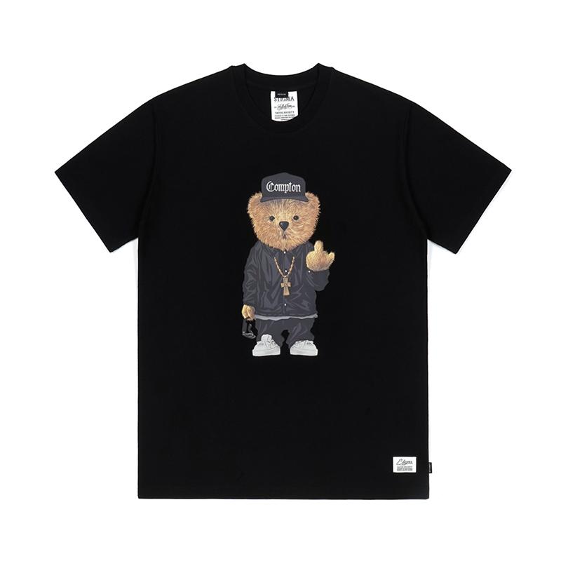 [시즌오프]STIGMA COMPTON BEAR T-SHIRTS BLACK