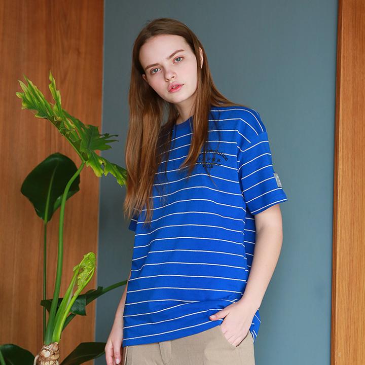 유니섹스 앤즈 스트라이프 티셔츠 블루
