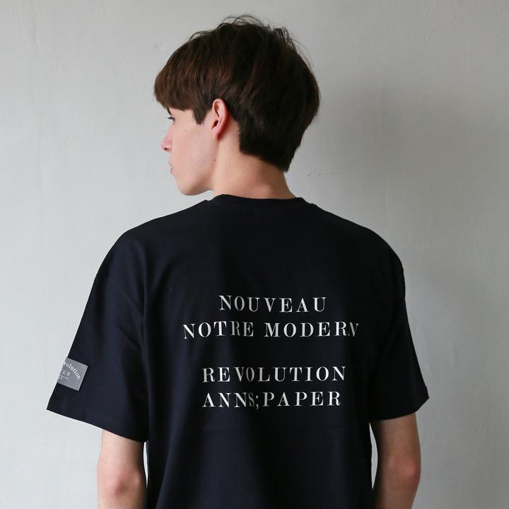 유니섹스 노트 모던 티셔츠 네이비
