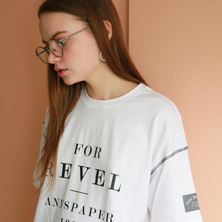유니섹스 레벨 포인트 티셔츠 화이트