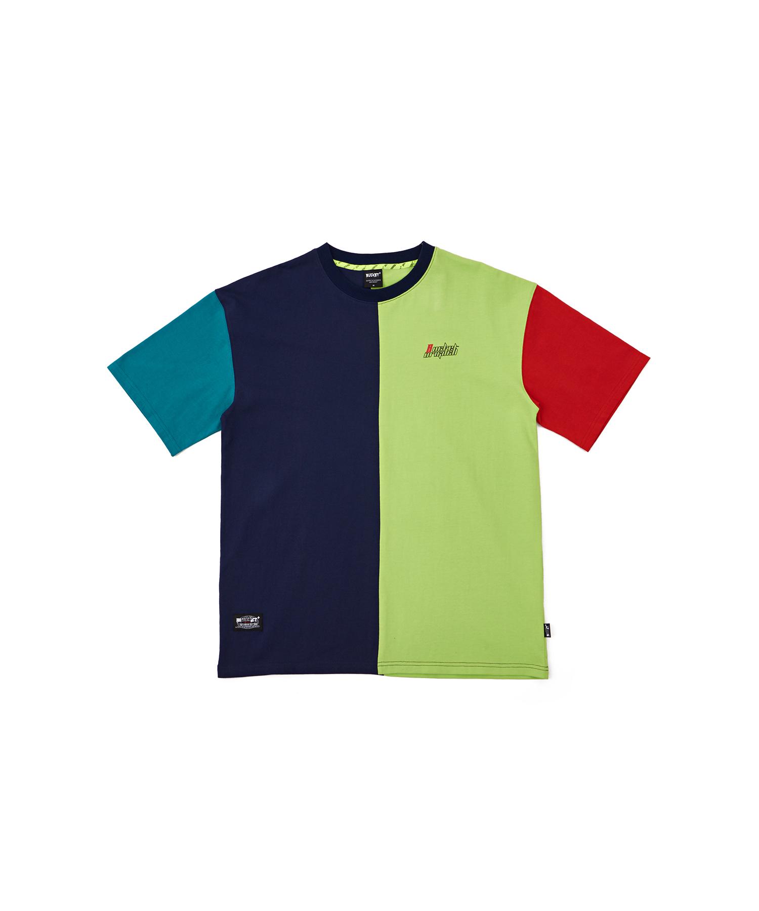 버켓 블로킹 로고 반팔 티셔츠