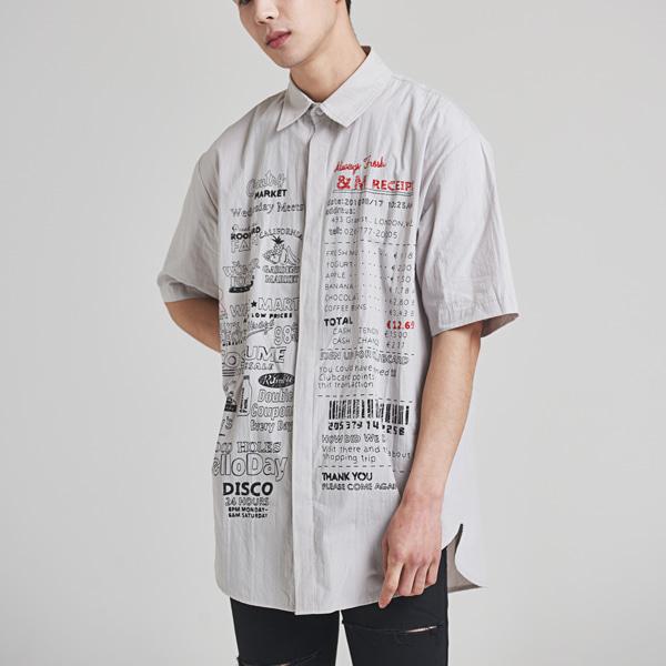 [올앤드] 레터링 프린트 반팔 오버핏 셔츠_LMBSH2610-190