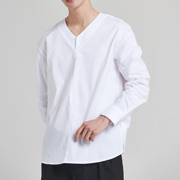 [올앤드] 브이넥 미니멀 셔츠_LMBSH2614-100
