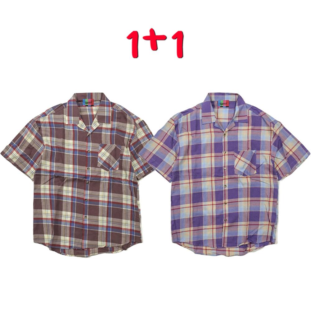 [1+1] Open Madras Check Shirt(2color)(unisex)