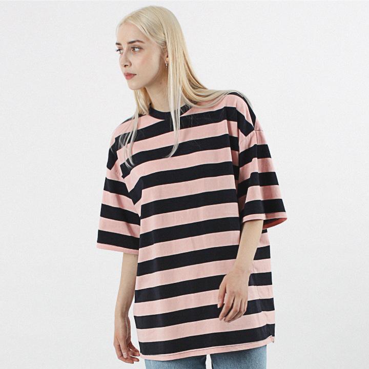 [20수] 헤비 오버핏 와이드 보더 반팔티 네이비핑크
