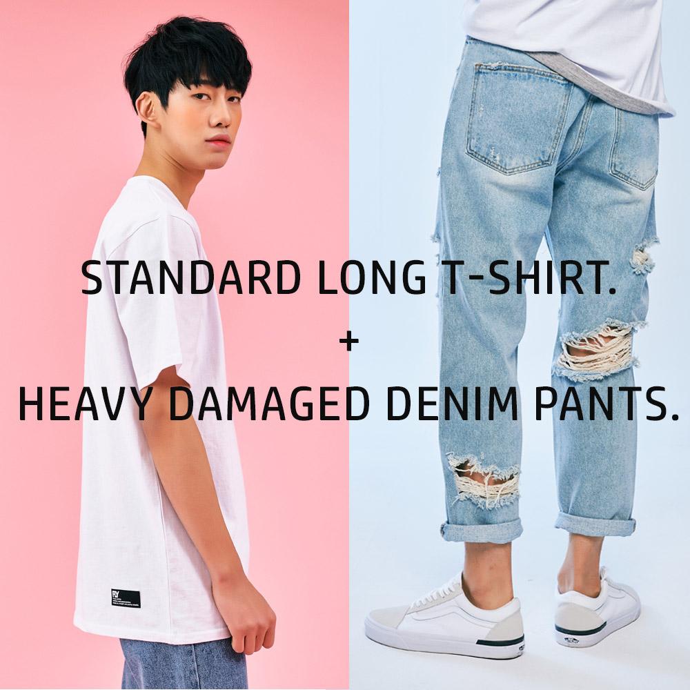 서퍼브핏 헤비데미지드 데님 팬츠(2color)+스탠다드 롱 티셔츠(3color)