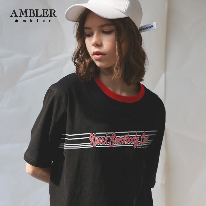 [엠블러]AMBLER 신상 자수 반팔 티셔츠 AS525-블랙
