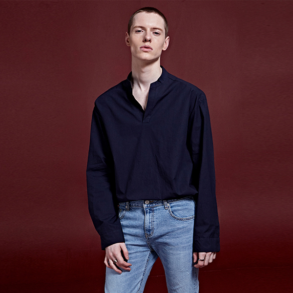 [DEANS] SOLID FULLOVER SLEEVE SHIRTS_NAVY