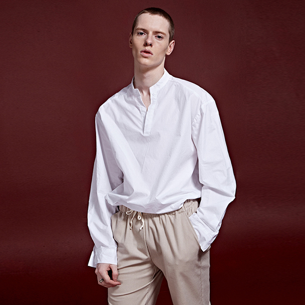 [DEANS] SOLID FULLOVER SLEEVE SHIRTS_WHITE