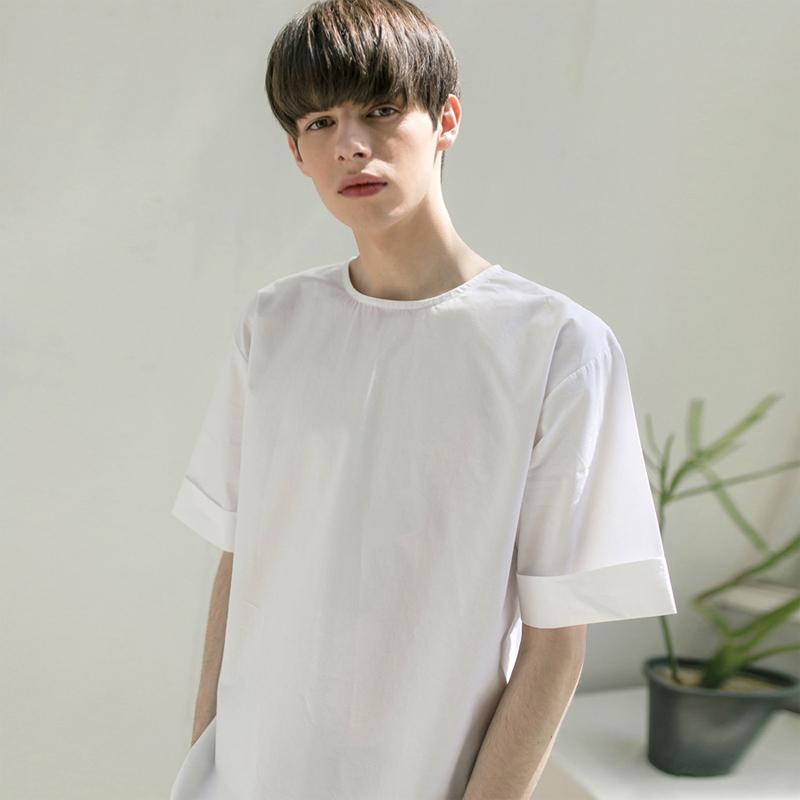 백 지퍼 슬리브 셔츠 [WHITE]
