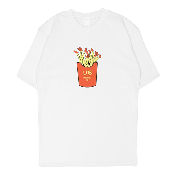 [언브라운] 감자튀김 오버핏 20수 특양면 트임티 화이트