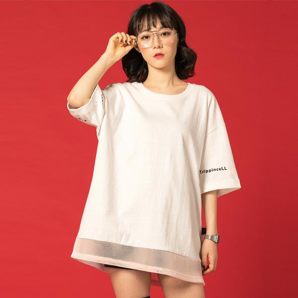 Under Mesh Tee (white) 메쉬 망사 프린팅 반팔 티셔츠 화이트