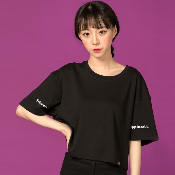 Twin Crop Tee (black) 트윈 크롭 프린팅 반팔 티셔츠 블랙