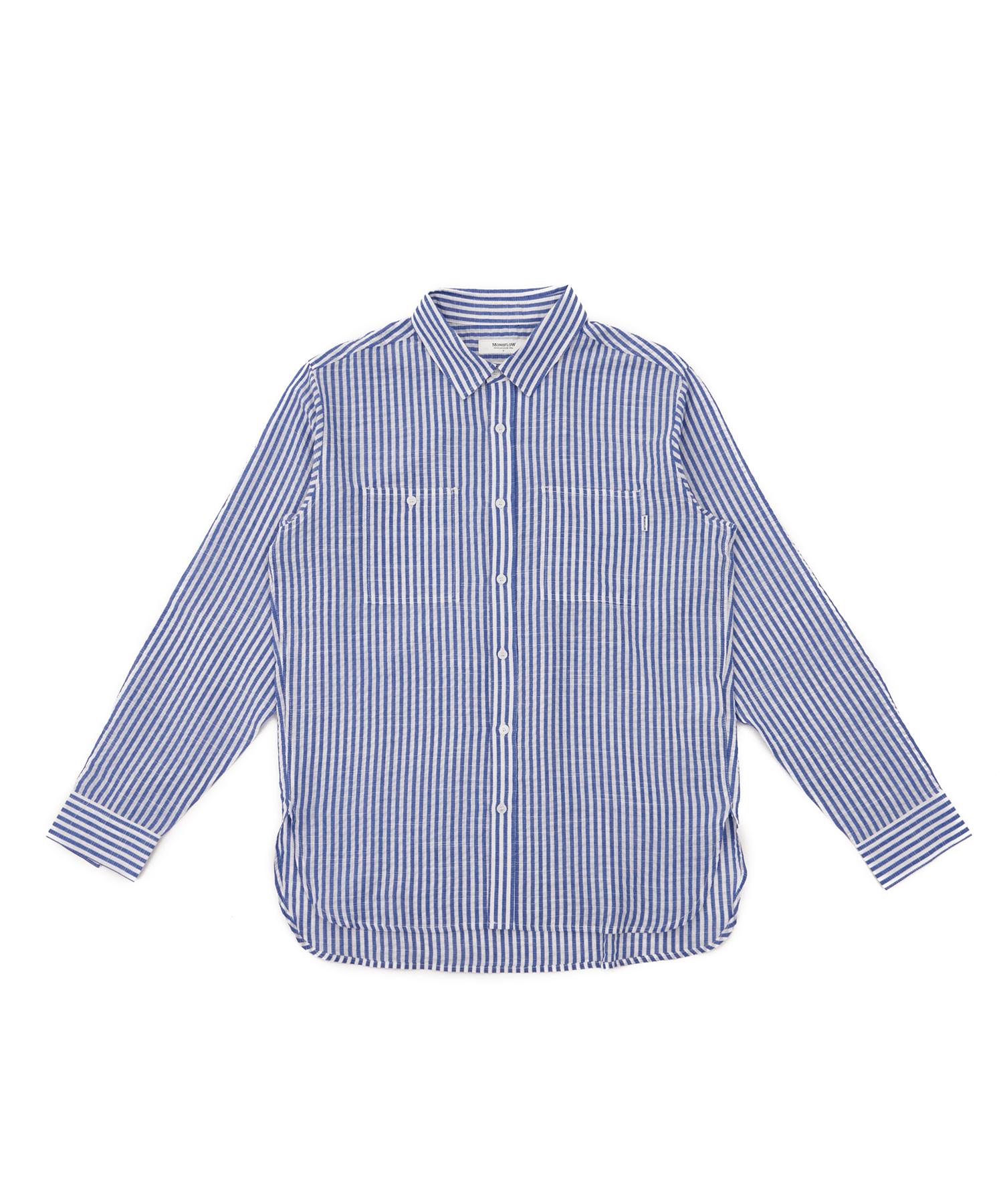 모노플로우 베이직 스트라이프 린넨 셔츠 BASIC STRIPE LINEN SH