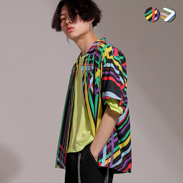 Retro Graphic Open Shirt(2color)(unisex)