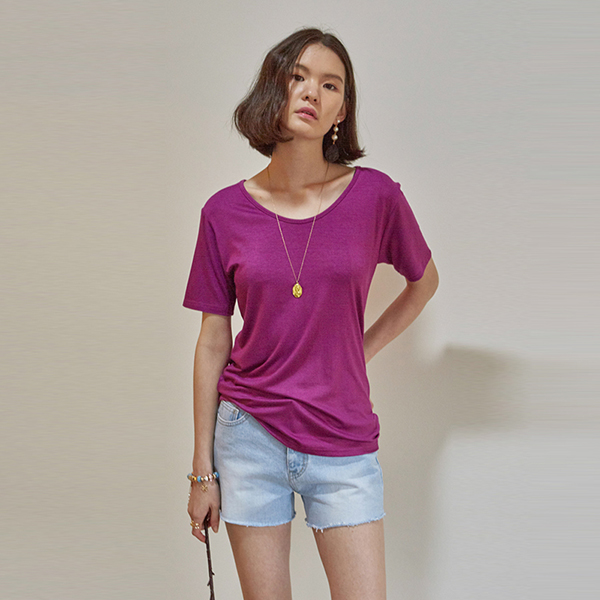 SOFT SOLID V-NECK T-SHIRTS_PURPLE