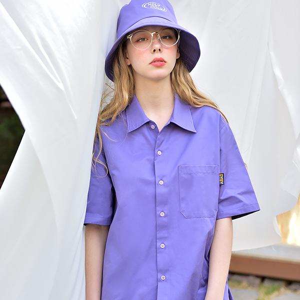 [남녀공용]오버핏 컬러 셔츠 퍼플