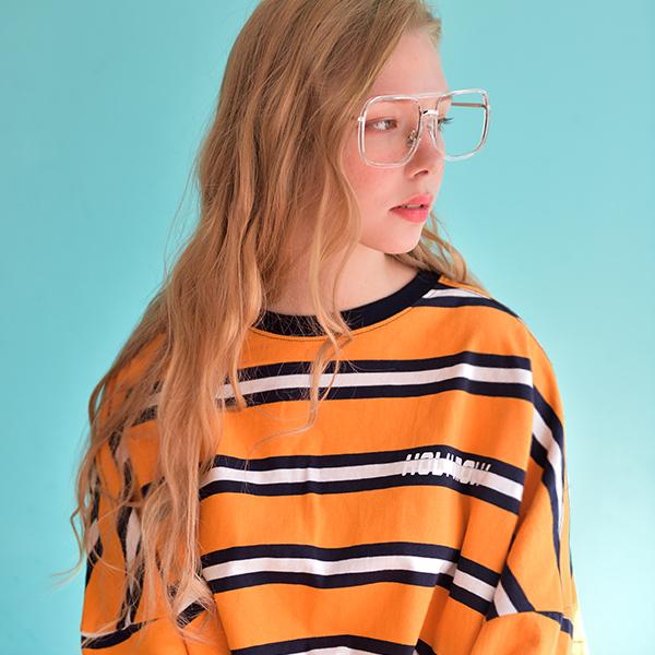 [남녀공용]빅 스트라이프 오버핏 반팔 티셔츠 옐로우