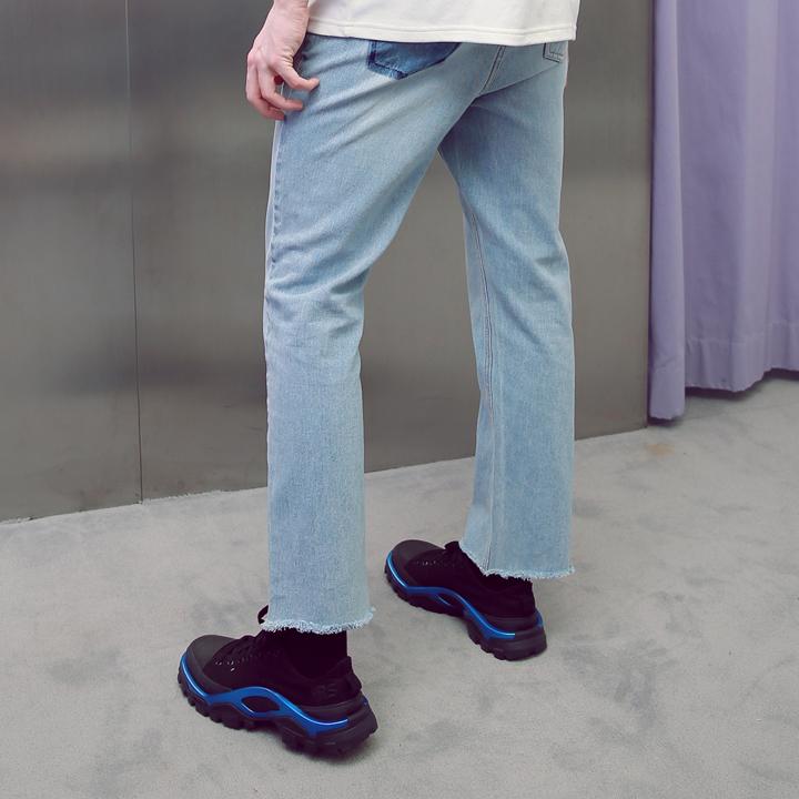 UNISEX POCKET CUTTING DENIM PANTS BLUE
