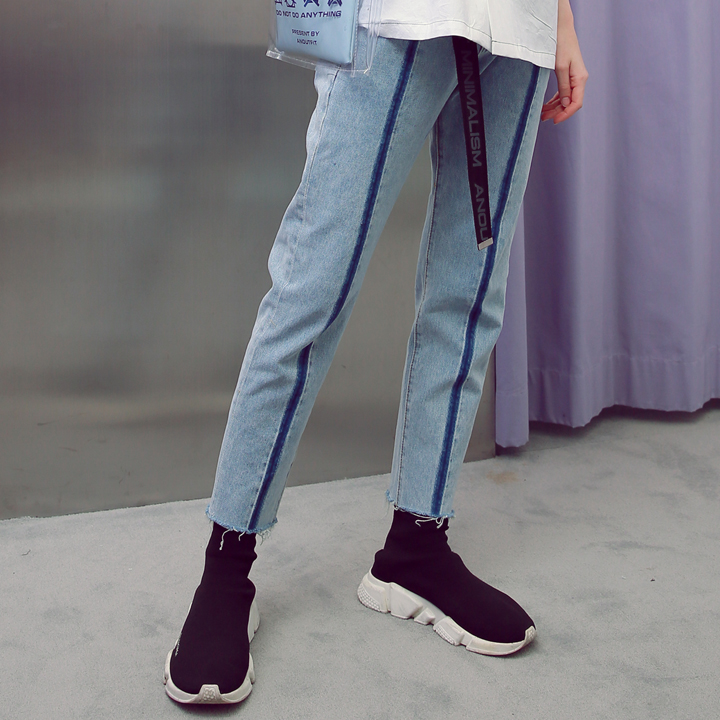 UNISEX LINE WASHING DENIM PANTS BLUE