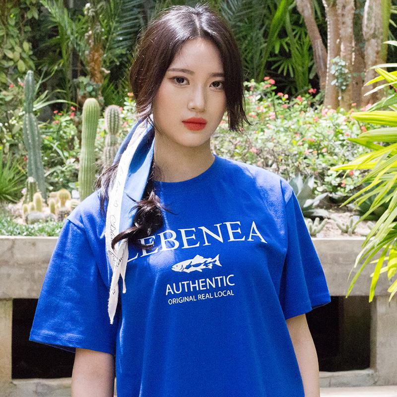 [Lebenea] Lovely Salmon T-shirt_blue