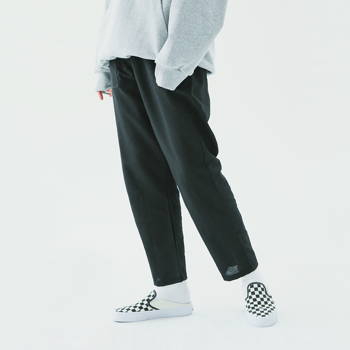 Fatigue linen banding pants(black)