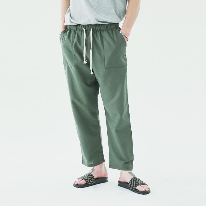 Fatigue linen banding pants(khaki)